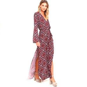 Lulus | Long Sleeve Maxi Dress V Neck Bohemian S